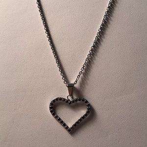 Stainless Steel Chain w/ heart w/ black cz